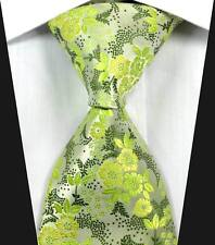 New Classic Florals Green JACQUARD WOVEN 100% Silk Men's Tie Necktie