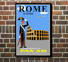 Pan Am Rome #1 Vintage-Style Airline Travel Poster [6 sizes, matte+glossy avail]