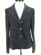 MISS SIXTY M60 Denim Jacket Blazer Dark Blue w Red Blue White Stitching Womens L