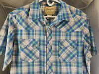 Men's Size Large Wrangler Western Fashion Pearl Snap Button Shirt Short Sleeve