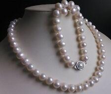 charming Set 9-10MM White Akoya natural Pearl Necklace Bracelet Earring Set