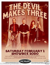 THE DEVIL MAKES THREE 2014 SEATTLE CONCERT TOUR POSTER - Bluegrass Music