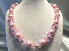 CHUNKY Graduated Strand of PINK Pearl & Translucent w/ Silver Necklace 14N790