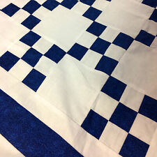 Blue & White Single Irish Chain patchwork QUILT TOP lap or baby size
