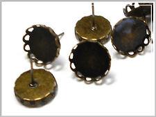 50 Ohrstecker Rohlinge bronze nickelfrei für 12mm Cabochon