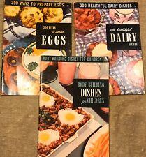 "1950 Culinary Institute Paperback Cookbooks (3) Dairy Eggs Kids 9 X 7"" 48 Pg"