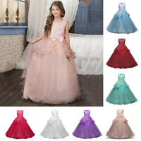 Kids Girls Princess Floral Dress Party Wedding Bridesmaid Formal Gown Long Dress