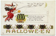 Halloween Red Witch Being Pulled by White Geese? Cat Border