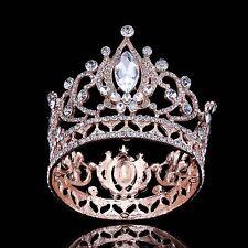 Fashion Rose Gold Plated Crystal Diadem Crown Prom Pageant Rhinestone Tiara Full