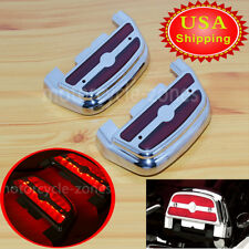 LED Light Red Passenger Footboard Floorboard Cover For Harley Softail Touring US