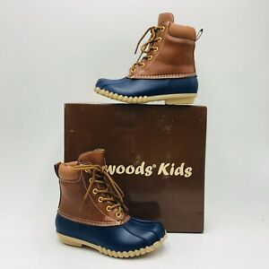 OUTWOODS Kids Little Kid Autumn Lace-Up Duck Boot Size 12 Navy/Brown
