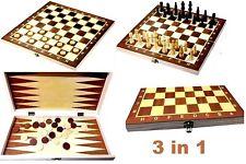 Backgammon Schach Dame inkl. Spielfiguren Holz Spielbrett 3 in 1 Neu