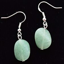 Green Aventurine Gemstone Earrings With Sterling Silver Hooks New LB1214