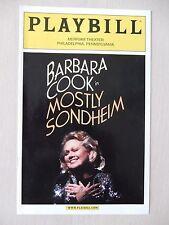 October 2002 - Merriam Theatre Playbill - Mostly Sondheim - Barbara Cook
