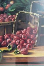 L W PRENTICE'S PRINT OF RASPBERRIES, CHERRIES AND BASKETS 1891 Fruit