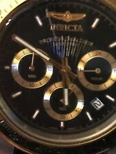 NEW!! Men's Invicta Black Leather Band Stainless Steel Watch 9224