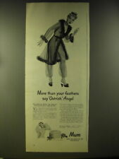 1946 Mum Deodorant Ad - More than your feathers say Ostrich, Angel