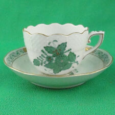 CHINESE BOUQUET Herend Green Espresso Cup/Saucer 724-1 NEW NEVER USED 24kt Gold