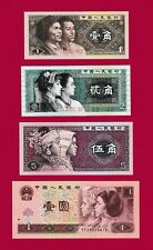 BEAUTIFUL CHINA UNC NOTES: 1 Jiao 1980, 2 Jiao 1980 , 5 Jiao 1980 & 1 Yuan 1996