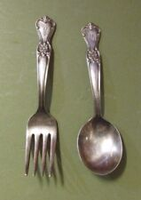 1950 SIGNATURE OLD COMPANY SILVER PLATE SPOON FORK SET LOT OF 2