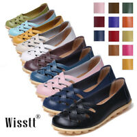 Women's Loafers Leather Driving Shoes Moccasins Slip On Flats Casual Shoes Comfy