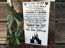 We Do Disney - Wall Hanging Shabby Chic Wood Sign Walt & Mickey Mouse Castle