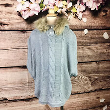 Girls Faux Fur Sparkle Knitted Hooded Poncho 6