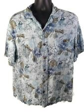 Island Shores Mens Short Sleeve Button Front Shirt L Blue Map Hawaiian