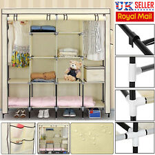 Large Triple Fabric Canvas Wardrobe Hanging Rail Shelf Clothes Storage Cupboard