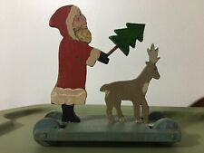 Handmade Christmas Santa Tree Reindeer Pull Toy Decoration Signed By Artist
