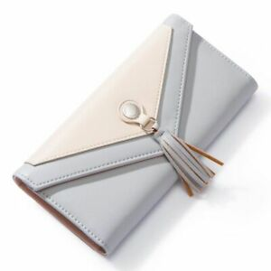 Women Envelope Wallet Synthetic Leather Geometric Card Holder Coin Pocket Purse