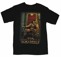 Conan Mens T-Shirt  - The Barbarian Turned King on His Throne on Black
