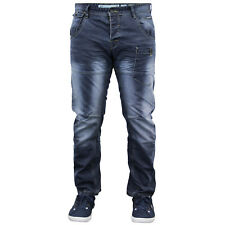 Mens Crosshatch Twisted Leg Tapered Jeans Regular Fit Denim Trousers New