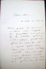 1898 LETTERA AUTOGRAFA DELLO STORICO E FILOLOGO TORINESE GAUDENZIO CLARETTA