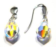 Pendientes de plata esterlina Pera gota Diseño De Cristal Austriaco