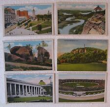 New Haven Conn. (6 Postcards) Mill River, Yale War Memorial, Football at Bowl ++