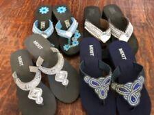NEW*Crystal BLING Sandal WEDGE FLIP FLOPS *sz 7*blue~gray~brown~pink~lightweigt
