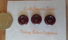 3 Textured Red Maroon Vintage 16mm Baby Cardigan 4 hole Sewing Buttons