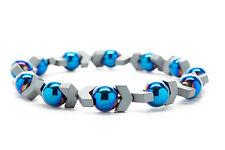 Blue Hematite Beaded Mens Stretch Bracelet Handmade