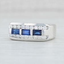 Men's 1.48ctw Blue Sapphire Diamond Ring 14k White Gold Size 10.75 Wedding Band