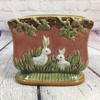Vintage Nouveau Majolica Napkin Holder Bunny Rabbits Glaze Finish 1991 CBK