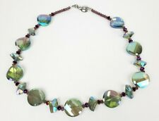 Beautiful Multi Color Cut Glass Necklace - Sterling Silver Clasp