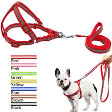 Nylon Step In Dog Harness & Leash Reflective Adjustable for Pet Pink Black Blue