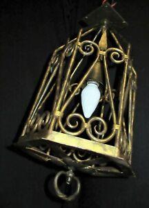 ANTIQUE WROUGHT IRON GOTHIC HANGING LAMP PENDANT LIGHT FIXTURE INDOOR / OUTDOOR