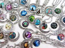 US Seller-100 pieces cheap wholesale cabochon moon necklaces jewelry bulk lot