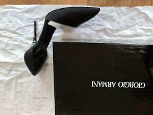 Giorgio Armani Silk Black Heel Shoes Size 38 / UK 5 Worn Once