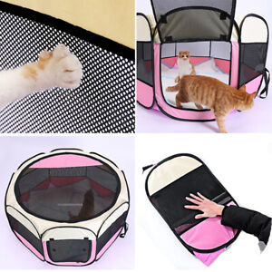 Folding Fabric Dog Crate Cat Kitten Cage Pet Travel Carrier Puppy Play Pen Tent