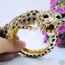 Panther Animal Leopard Bracelet Bangle Clear Austrian Crystal Gold GP