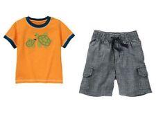 Gymboree Gone Surfin Orange Turtle T Shirt Chambray Cargo Shorts Set Boys 3T NWT