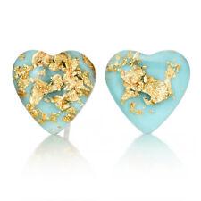925 Silver Fashion Women Natural Stone Turquoise Heart Shaped Earrings Ear Stud
